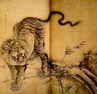獅子虎図屏風左隻