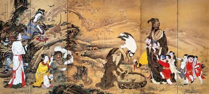 群仙図屏風(左隻)