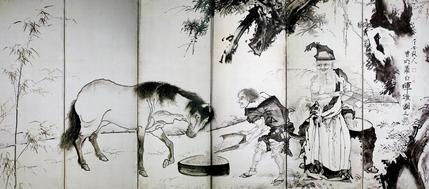 塞翁飼馬・蕭史吹笙図屏風(右隻)