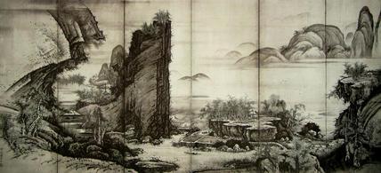 楼閣山水図屏風(左隻)