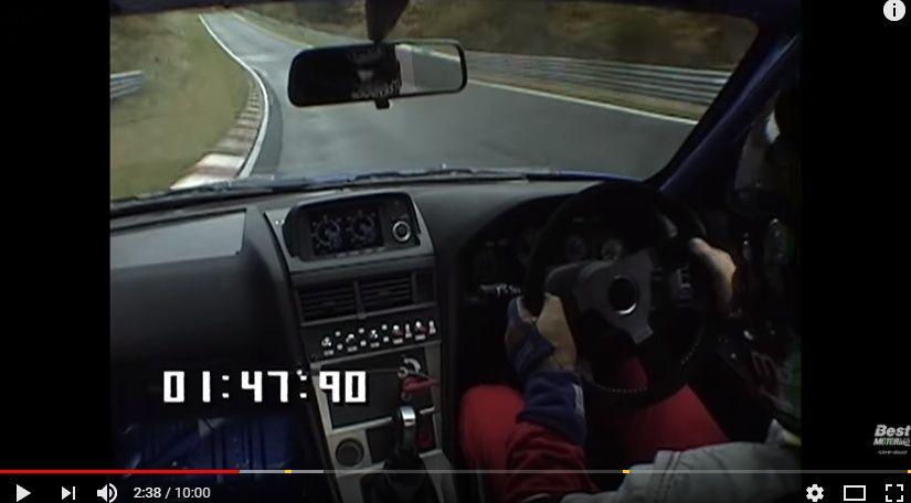 日産スカイラインR34 GT-R Gr.Nのニュル北アタック!開発テストでの車載映像 1999年ベスモ