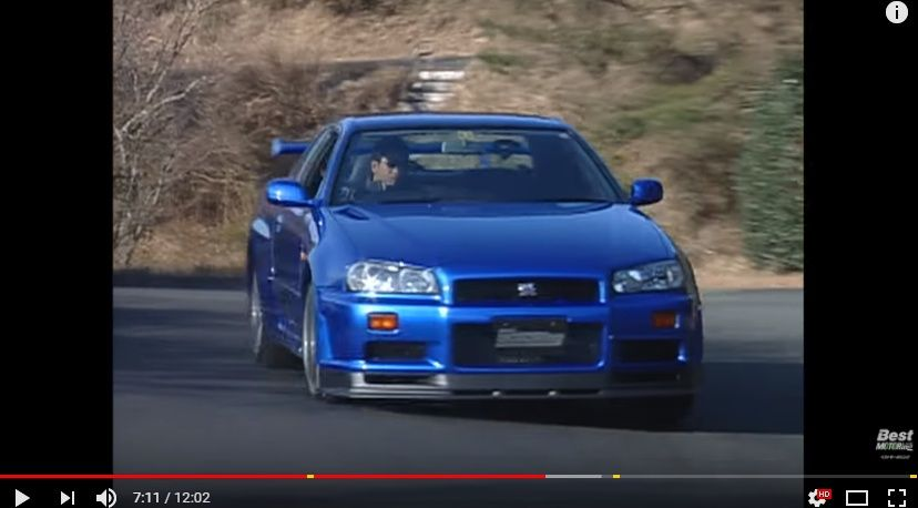 【動画】1999年、デビューしたての日産スカイラインGT-R R34を土屋圭市が全開インプレッション!ベスモ