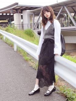 白ソックス×ロングスカート
