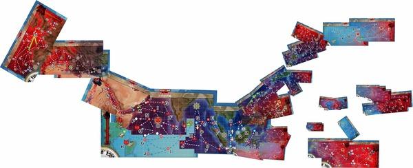 【艦これ】各マップを繋げて世界地図っぽくしてみた、5年でこんな駆け回ったんだなぁ・・・