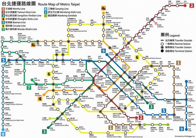台北捷運路線図