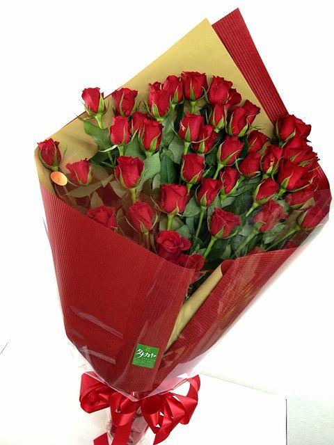 44本の赤いバラの花束