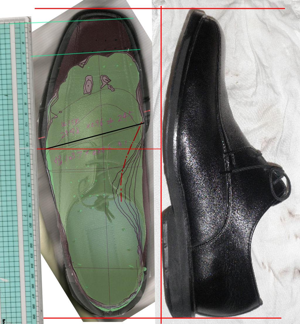 しかしどうもよくわからないので靴を観察してみました。スキャナーで写し取れる画像とカメラの画像を組み合わせて縮尺が狂わないように頑張ってみました。