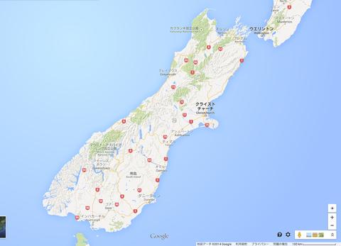 140905 ニュージーランド南島 地図