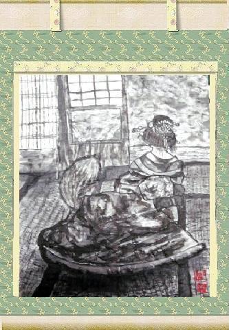 たぬき画・お江戸、花魁化け狸!(水墨画)