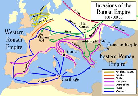8-4英語版民族の移動WikipediaよりInvasions_of_the_Roman_Empire_1