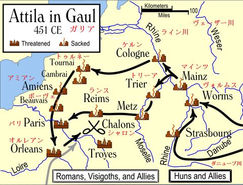 8-7b Attila_in_Gaul_451CE.svg - コピー日本語