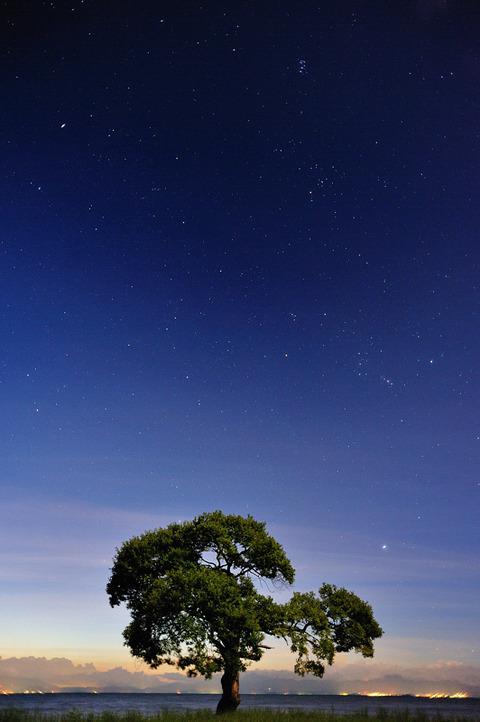 夜明けの星空
