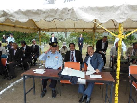 150830室蘭市消防団総合訓練大会01、青山たけし市長とのスナップ
