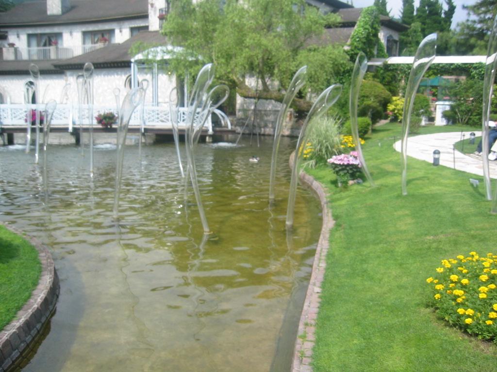 ガラスの家の池