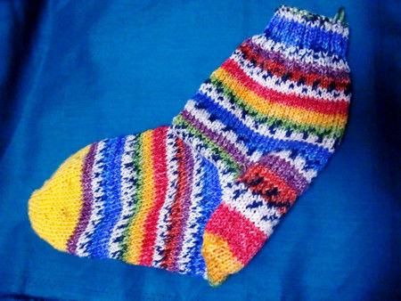 OPAL毛糸で編んだ靴下