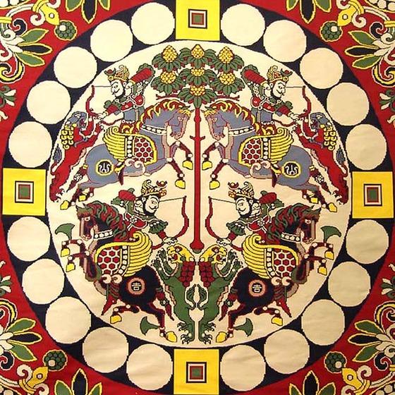 四天王獅猟紋様錦