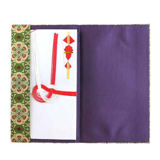 金封袋 花鳥梅花文錦(緑)3