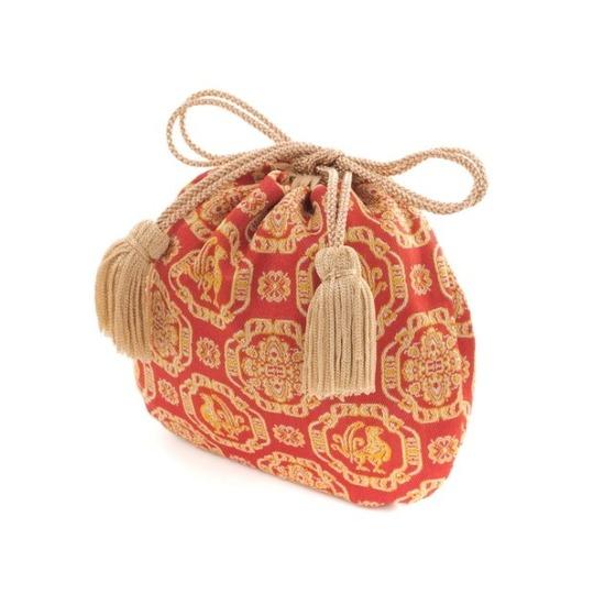 ミニ巾着 ペルシャ鶏華文(赤)
