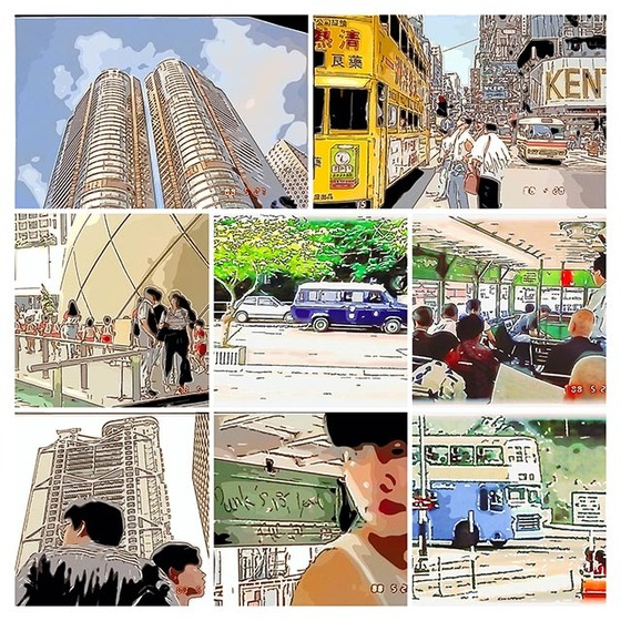 _1988香港イラストコラージュトラム