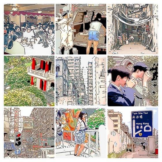 _1988香港イラストコラージュ散策01