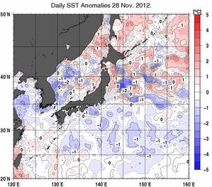 海面水温平年差_20121128