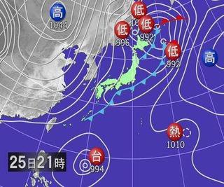 予想天気図25日21時