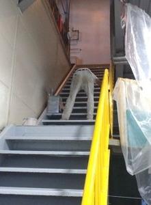 階段を塗る舟橋さん