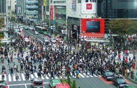 渋谷スクランブル交差点上から