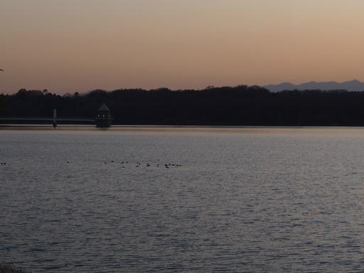 20170204・狭山湖なのだ空21・17時20分給水塔に灯が