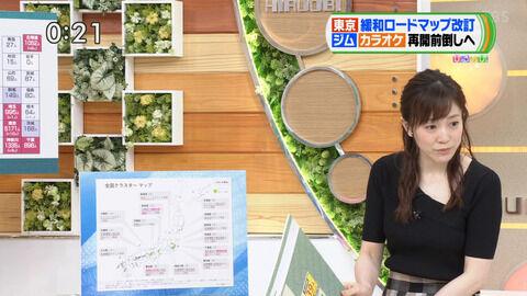 TBS江藤愛アナ、今週の黒ニットおっぱい。