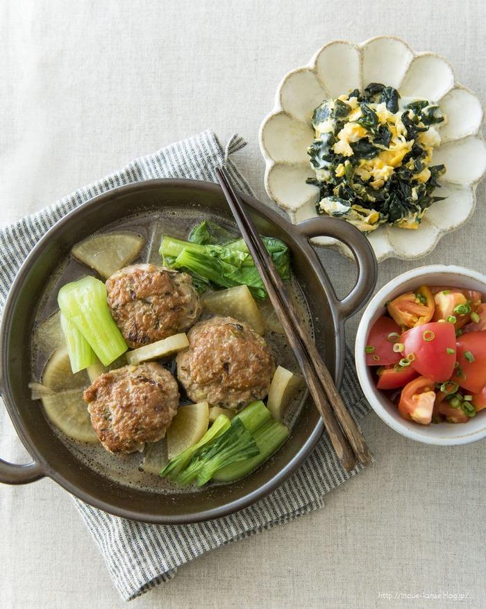 中華風肉団子スープ献立