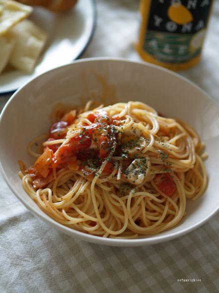 母ちゃんちの晩御飯とどたばた日記-モッツァレラのトマトパスタ
