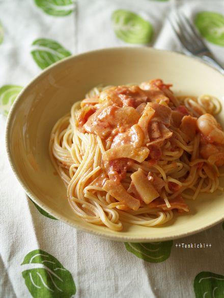 母ちゃんちの晩御飯とどたばた日記-海老トマトクリーム