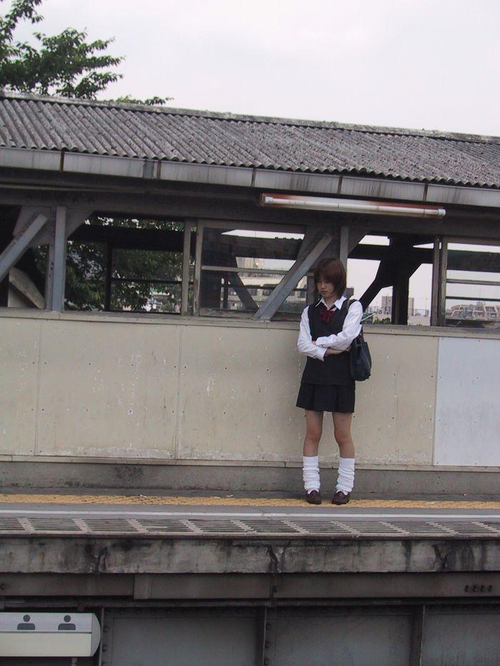 2001年当時の東急大井町線旗の台駅ホーム(東京・旗の台)