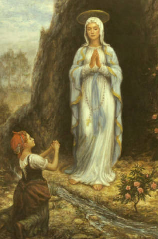 The Virgin Mary appears to St. Bernadette.