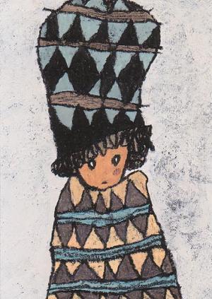 ギザギザ模様の服と帽子の子