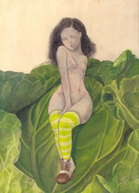 寺田楓さんのアクリル画 「芋虫」