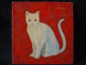ネコの時 10cm×10cm 合板・油彩