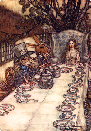 A mad tea party by_Arthur Rackham