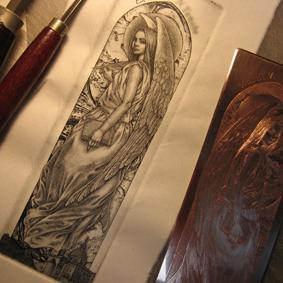 完成間近の蔵書票「ウルビーノの天使」
