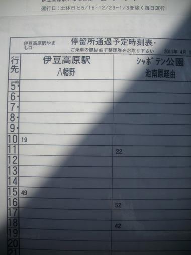 伊豆高原駅 「やまも口」 バス停 時刻表