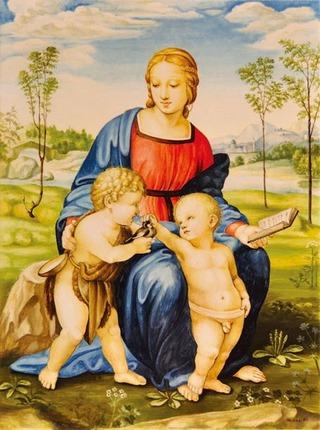 「鶸の聖母」 マジョリカ焼に模写