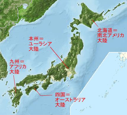日本列島と大陸との対応図