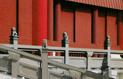 首里城正殿の石高欄上で守護するシーサー達