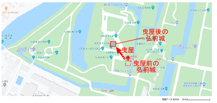 曳屋前後の弘前城位置図