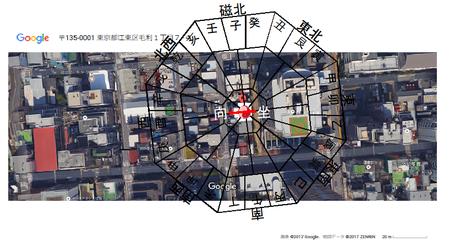 伊勢ヶ濱部屋周辺風水方位画像