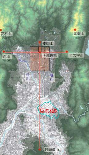 平安京跡の風水地勢図