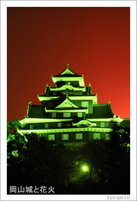 岡山城と花火 写真3