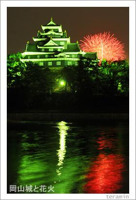 岡山城と花火 写真2