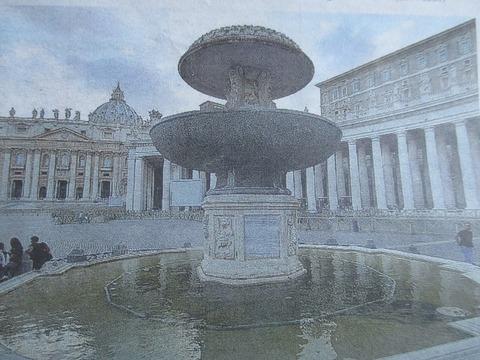 水が止まったカルロ・マデルノ噴水サンピエトロ広場800pic
